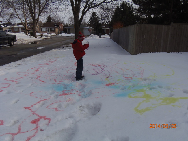 Painting on the snow Windsor, Ontario Canada