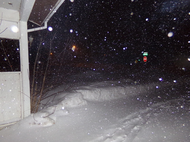 Snow reflection from flash Woodstock, New Brunswick Canada