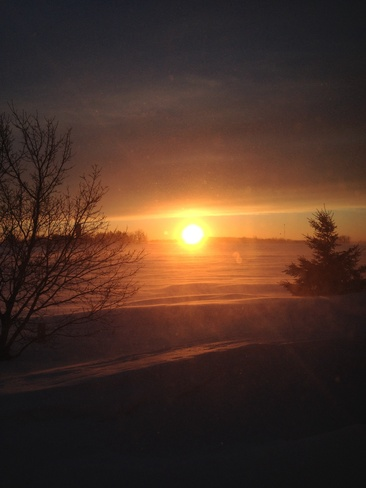 Sunset after snow storms Arthur, Ontario Canada