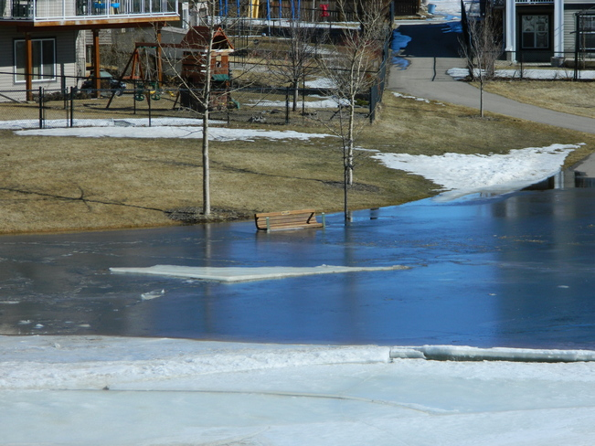 Spring melt at Sagewood Canal Airdrie, Alberta Canada