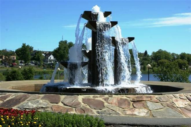 Osisko lake fountain Rouyn-Noranda, Quebec Canada