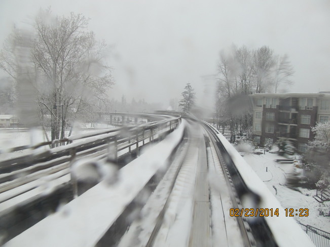 Snow on the Sky Train Tracks Burnaby, British Columbia Canada