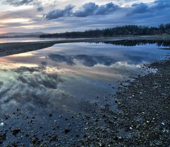 Storm Clouds Reflected in Tide Pool North Saanich, British Columbia Canada