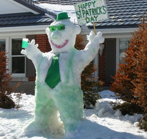 Frosty survives 13 weeks to Enjoy St. Patrick's Day Waterloo, Ontario Canada