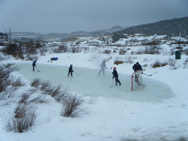 Kids playing hockey on a Frog Pond St. John's, Newfoundland and Labrador Canada