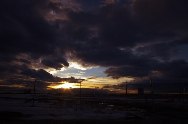 Sunset from the airport. Fort McMurray, Alberta Canada