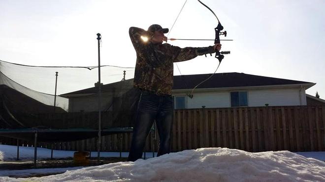 Warm winter Archery fun Tecumseh, Ontario Canada