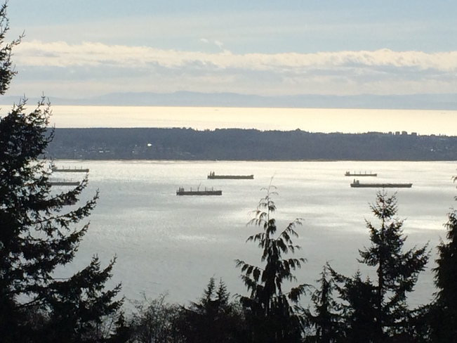 Boats anchored on the Pacific West Vancouver, British Columbia Canada