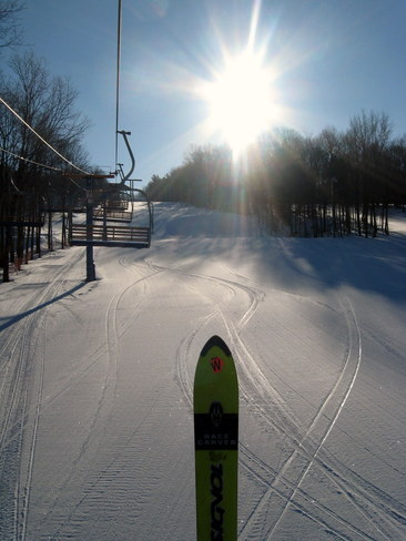 lots of skiing left !! Rigaud, Quebec Canada