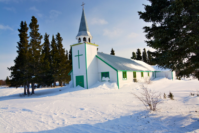 Church on Fort George Chisasibi, Quebec Canada