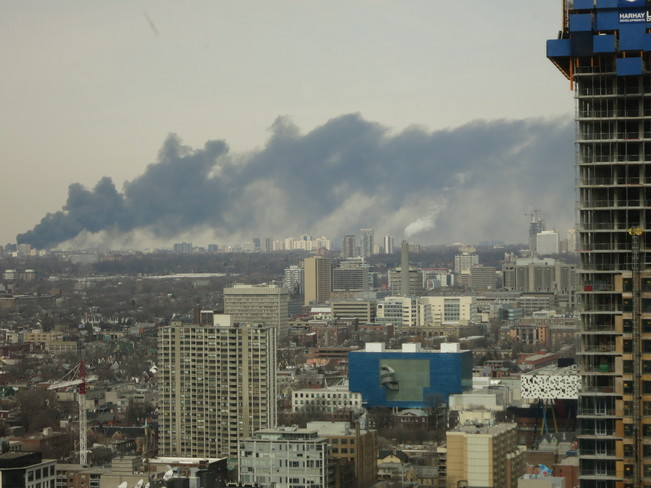 Fire Rages in Toronto Toronto, Ontario Canada