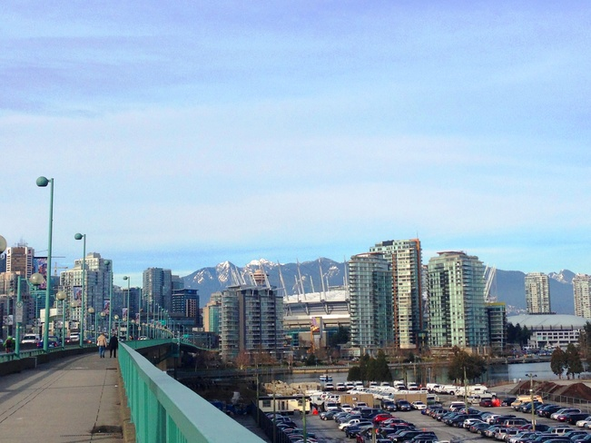 Sight along Cambie Street Bridge Vancouver, British Columbia Canada