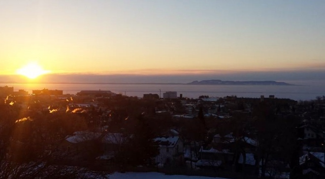 sunrise and the giant Thunder Bay, Ontario Canada