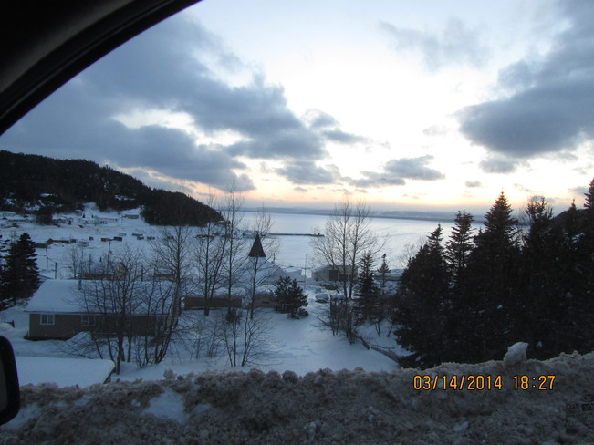 Sunset over town Seal Cove, Newfoundland and Labrador Canada