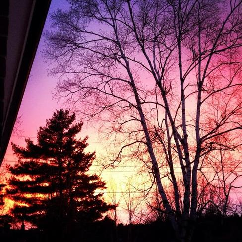 Pink sky Caledon East, Ontario Canada