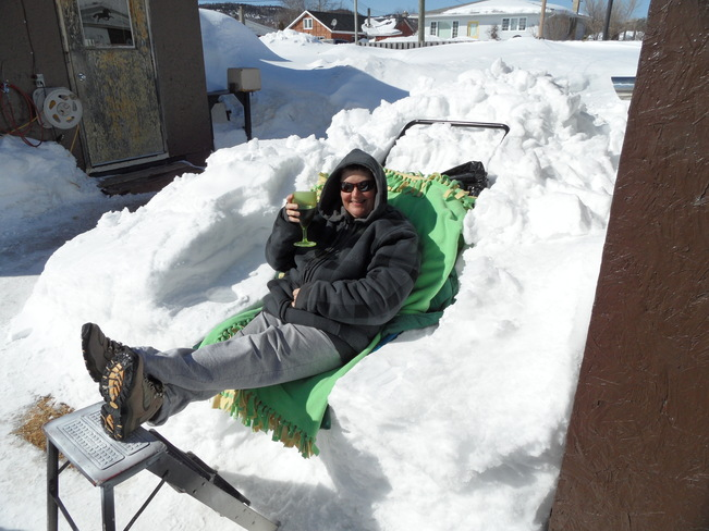 Relaxing in the snow.. Schreiber, Ontario Canada
