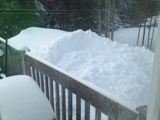 Snowpile from clearing driveway Douglas, New Brunswick Canada