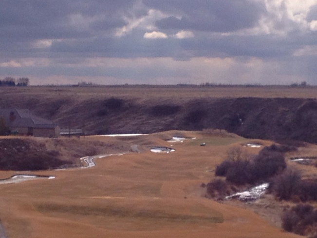 Tarps removed - golf soon?? Desert Blume, Alberta Canada