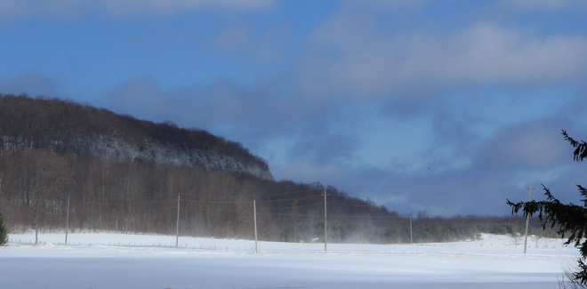 Blowing Snow at Kemble Mountain Owen Sound, Ontario Canada