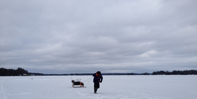 Ice Fishing on Lake Joseph Port Carling, Ontario Canada