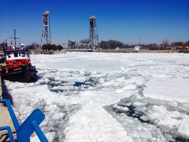 Ice coming in to Welland Canal Port Colborne, Ontario Canada