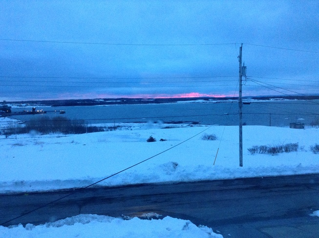 Cloudy with red Sunset Sydney, Nova Scotia Canada