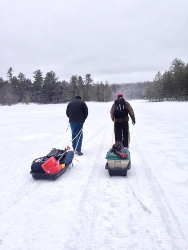 Winter camping in spring Haliburton, Ontario Canada