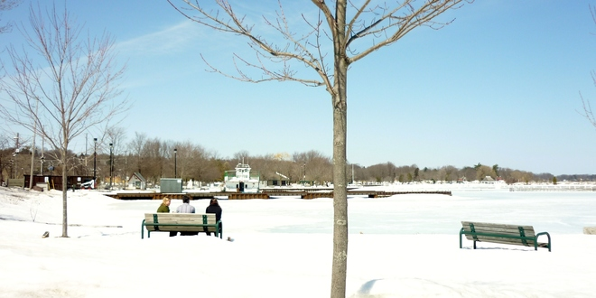 Surrounded by snow for a picnic Orillia, Ontario Canada