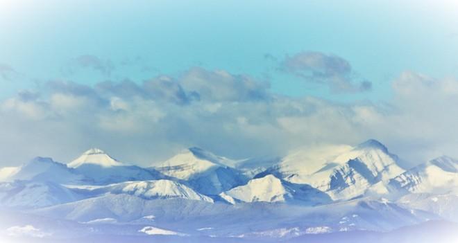 Mountains from Rocky Ridge. Calgary, Alberta Canada