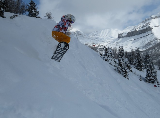 What a great day, great snow, great line to ride!! Lake Louise, Alberta Canada