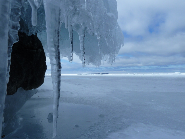 View of Georgian Bay from under Cliff Ice at Cyprus Lake Park Tobermory, Ontario Canada
