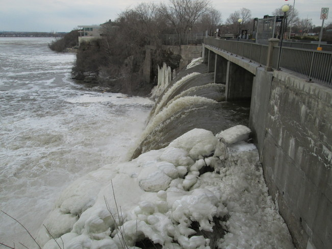 Lots of Water Today Where Rideau River falls into Ottawa River Ottawa, Ontario Canada