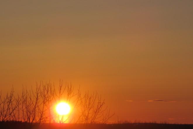 Sun hiding Timmins, Ontario Canada