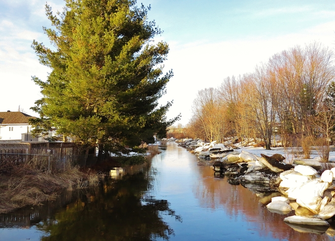 Parks Creek flowing along strong. North Bay, Ontario Canada