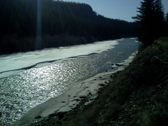 Spring Ice Melt on Chilcotin River Alexis Creek, British Columbia Canada