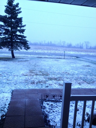 snow has started Sinclairville, Ontario Canada