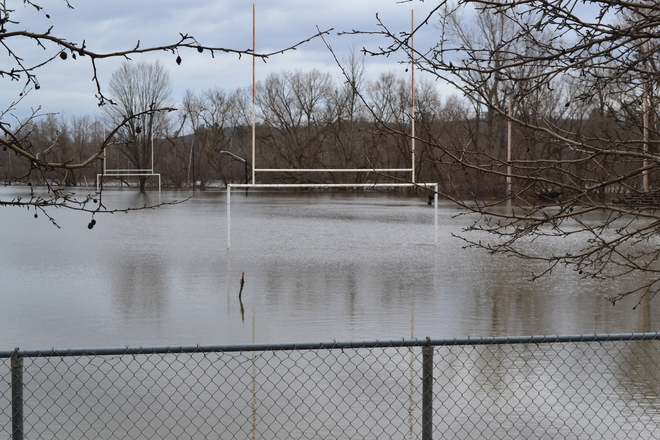 practice field and river become one Lennoxville, Quebec Canada