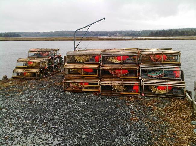 Gearing up for lobster season Musquodoboit Harbour, Nova Scotia Canada