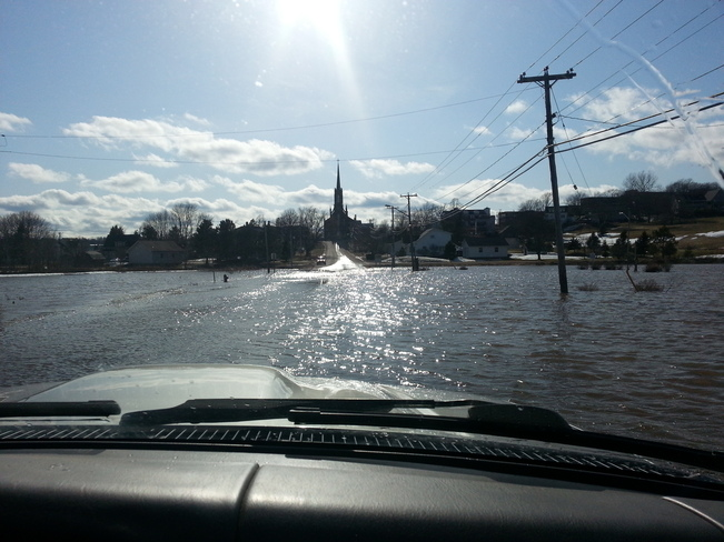 Rue St Thomas in Memramcook flooded on April 16th, 2014 Memramcook, New Brunswick Canada