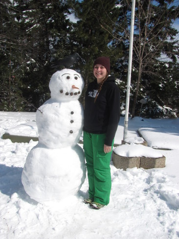 Julia and her snowman Good Friday Thunder Bay, Ontario Canada