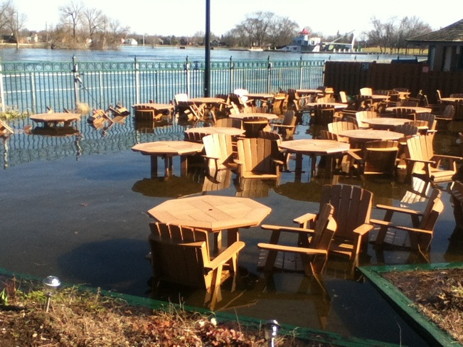 restaurant flooded outside Peterborough, Ontario Canada
