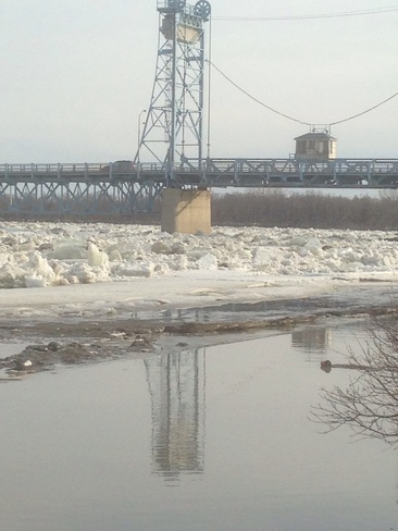 ice jams Selkirk, Manitoba Canada