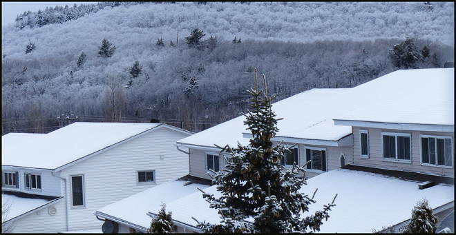 Snow covered roofs, Elliot Lake. Elliot Lake, Ontario Canada