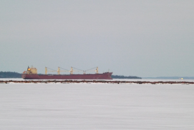 SHIP SURROUNDED BY ICE Thunder Bay, Ontario Canada