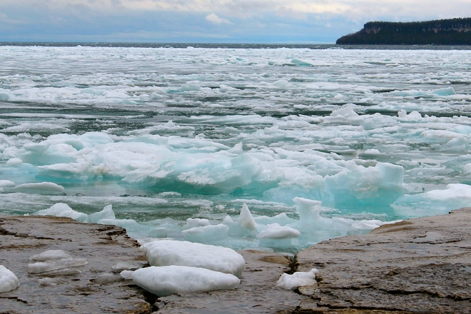 Ice in Isthmus Bay Lion's Head, Ontario Canada