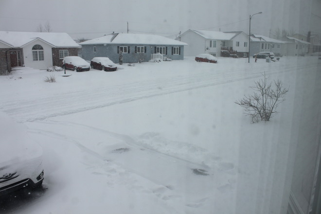 Snow on May 6, 2014 Gander, Newfoundland and Labrador Canada