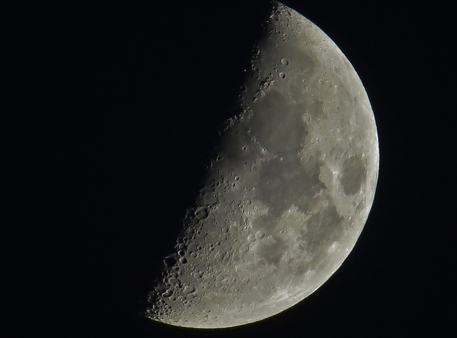 First Quarter Moon over North Bay. North Bay, Ontario Canada