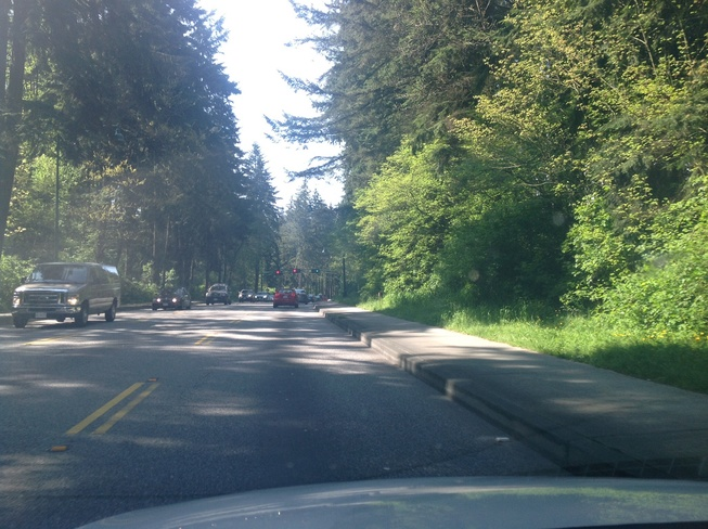 Driving though stanley park Vancouver, British Columbia Canada