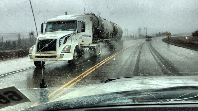 Wet day on the roads Fort McMurray, Alberta Canada