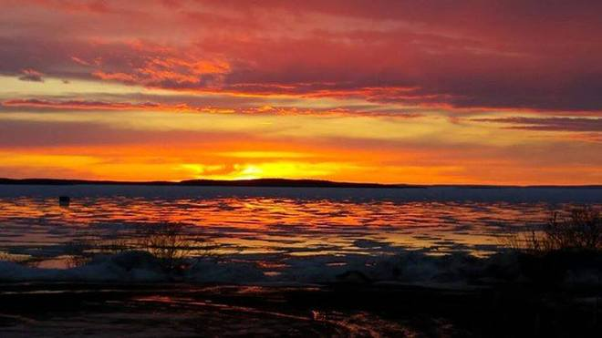 Sunset over great slave lake Lutselk'E, Northwest Territories Canada